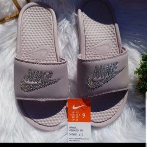 Bling Bedazzled Rose Mauve Nike Slide Sandals